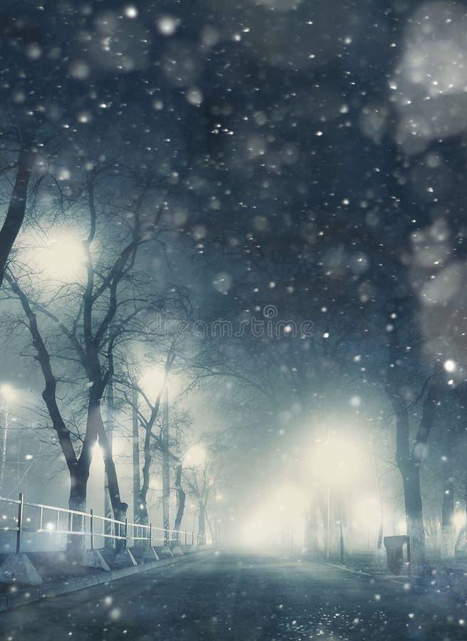 Opad śniegu noc w miasteczku fotografia royalty free