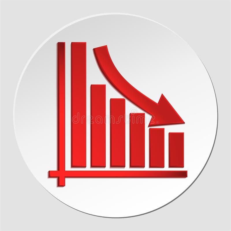 Opadająca biznesowa strzała na diagramie przyrost, zmniejszający się zielona strzała wektorowa wykres ikona EPS10 ilustracji