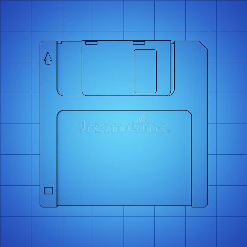 Opadającego dyska błękitny druk, cienka kreskowa ilustracja, czarny konturu symbol na błękitnym tle, 3d rendering royalty ilustracja
