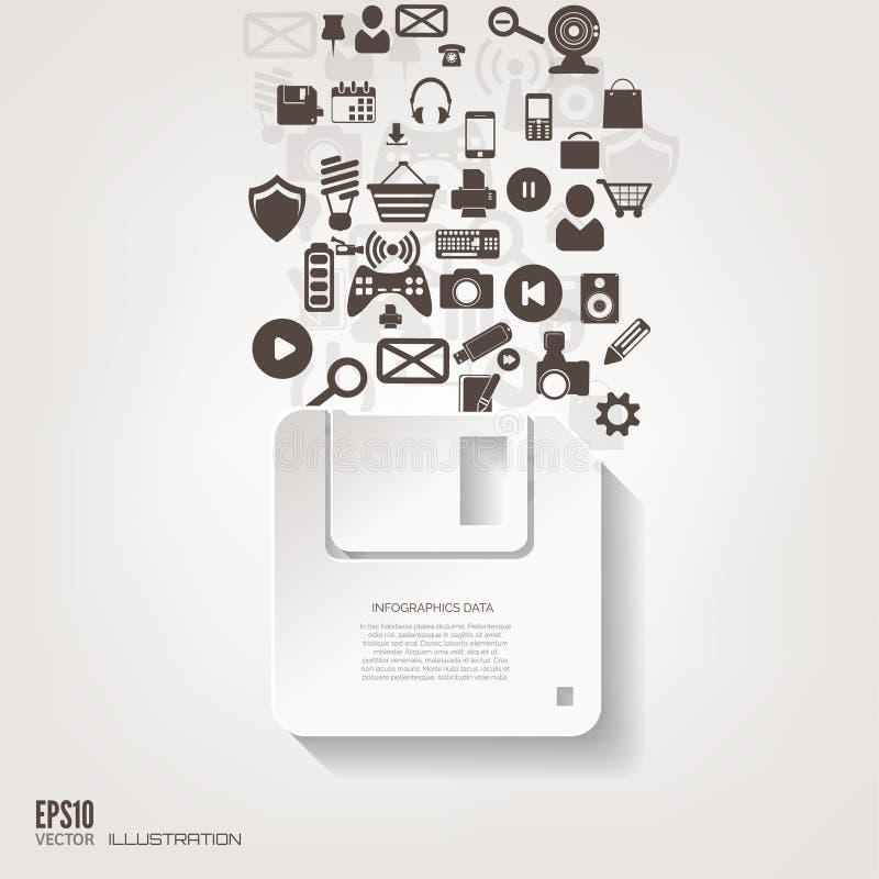 Opadającego dyska ikona Płaski abstrakcjonistyczny tło z sieci ikonami Interfejsów symbole 2010 smau obłoczny target335_0_ Micros ilustracja wektor