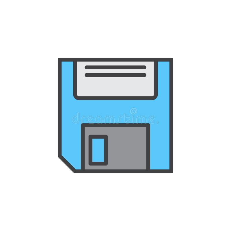 Opadającego dyska linii ikona, wypełniający konturu wektoru znak, liniowy kolorowy piktogram odizolowywający na bielu ilustracji
