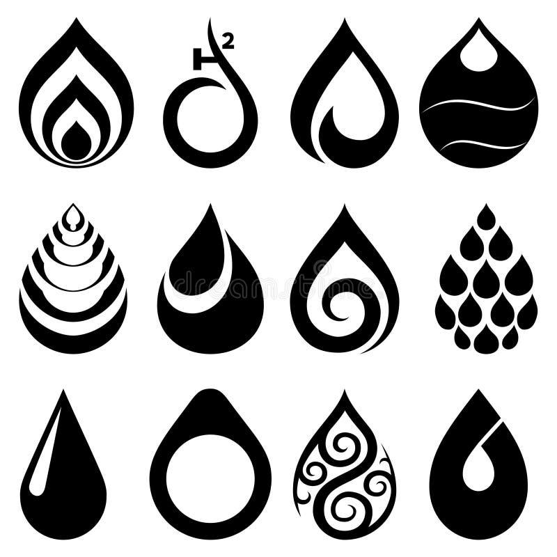 Opadowe ikony i znaki ustawiający ilustracji