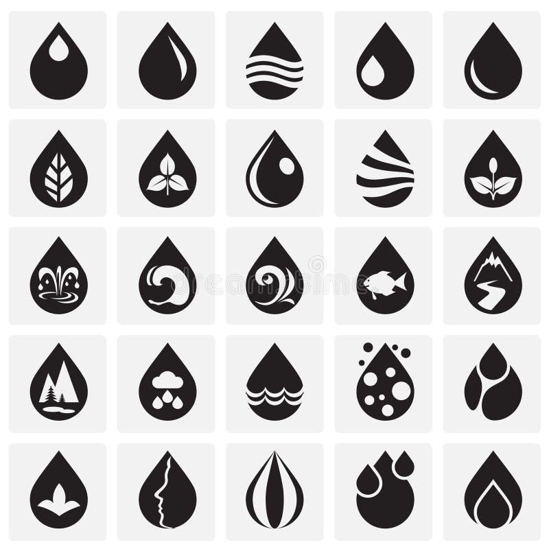 Opadowe wodne ikony ustawiać na kwadrata tle dla grafiki i sieci projekta, Nowożytny prosty wektoru znak kolor tła pojęcia, niebi royalty ilustracja