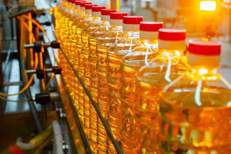 opadowego oleju stylizowany słonecznik Fabryczna linia produkcja i plombowanie olej rafinowany od słonecznikowych ziaren Fabryczn zdjęcia royalty free