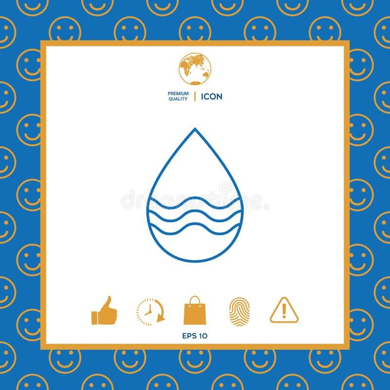 Opadowej linii ikona z fala royalty ilustracja