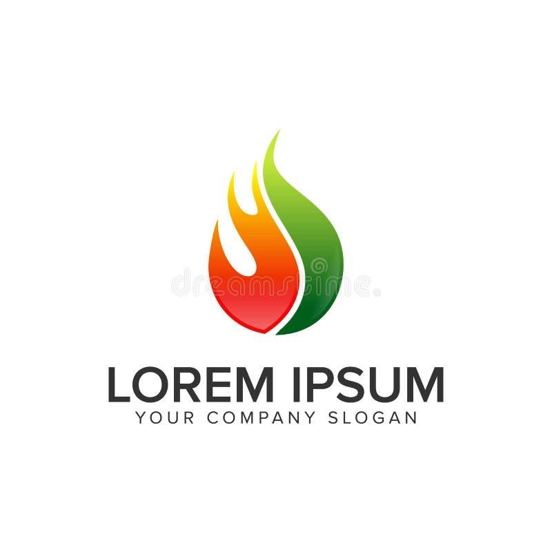Opadowy ogień nafcianego gazu logo projekta pojęcia szablon royalty ilustracja