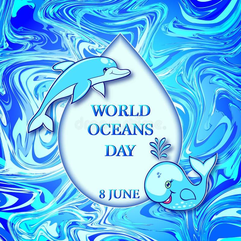 Opadowy witn wal, delfin i ilustracji