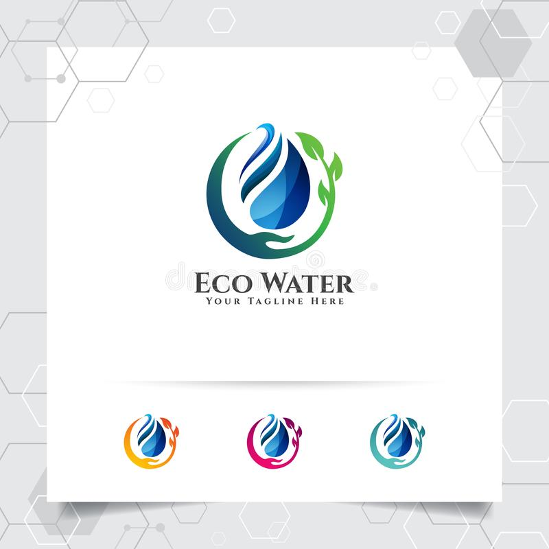 Opadowy wodny logo projekt z pojęciem kropelki wody ikona z zielonym ekologia wektorem używać dla wody mineralnej instalacji wodn ilustracja wektor