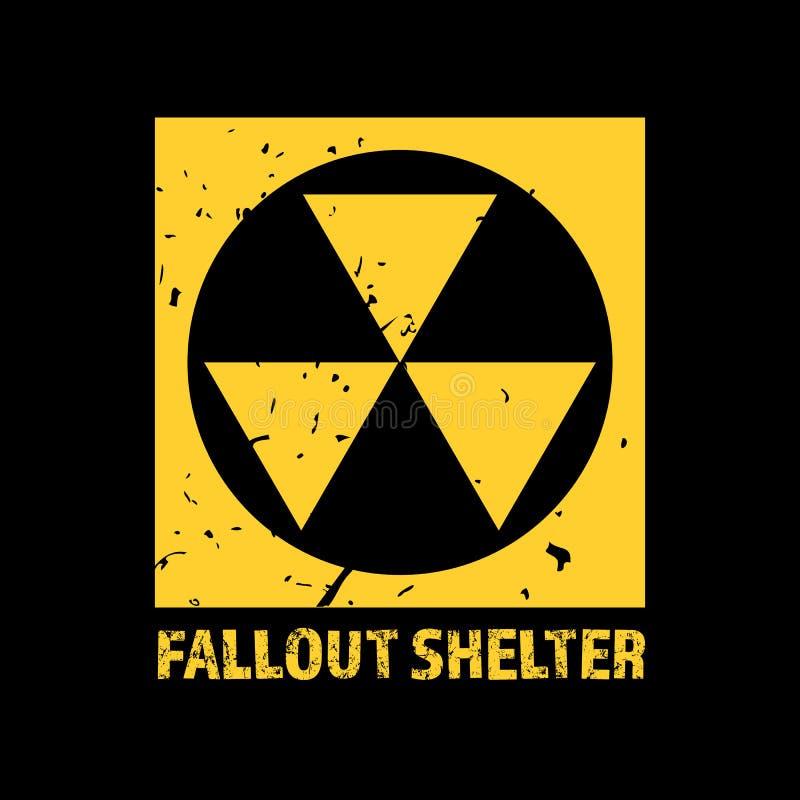 Opadu schronienie Rocznika Jądrowy symbol Promieniotwórczy strefa znak również zwrócić corel ilustracji wektora ilustracji