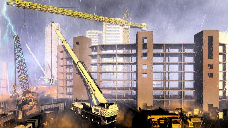 Opady deszczu na budowie ilustracji