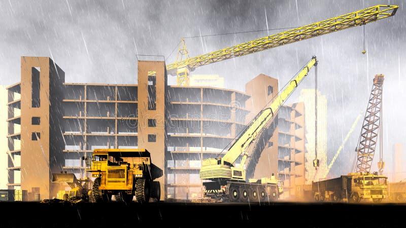 Opady deszczu na budowie royalty ilustracja