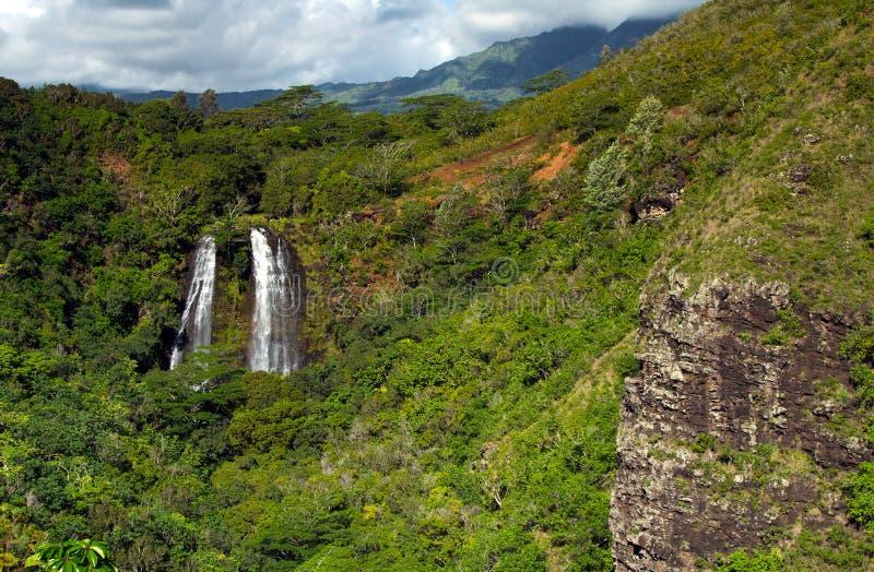 Opaeka'a秋天,考艾岛,夏威夷 免版税库存照片