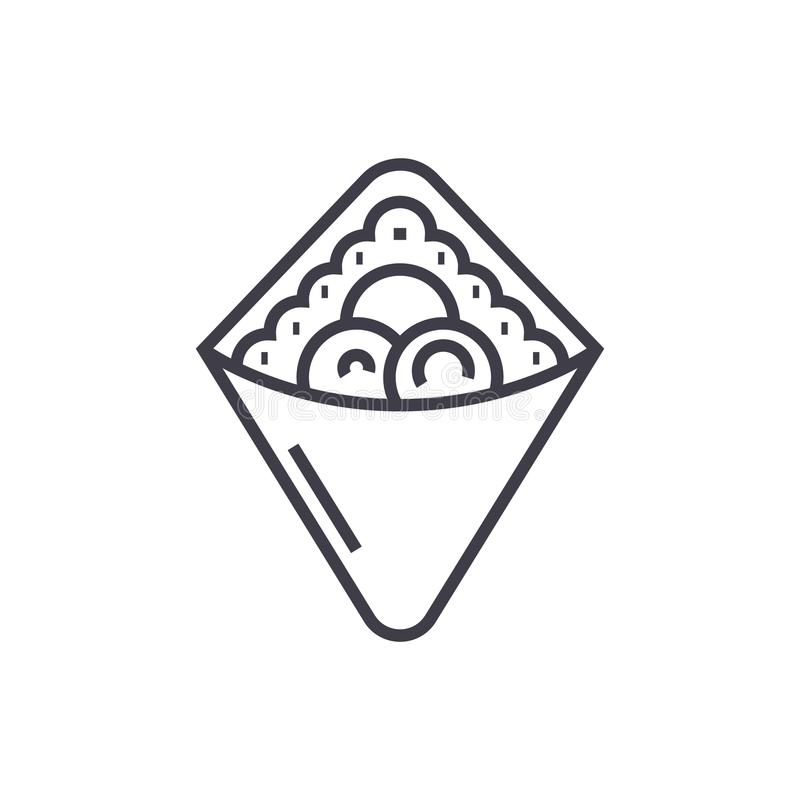 Opakunek, fast food, doner kebab, grzanka wektoru linii ikona, znak, ilustracja na tle, editable uderzenia ilustracja wektor