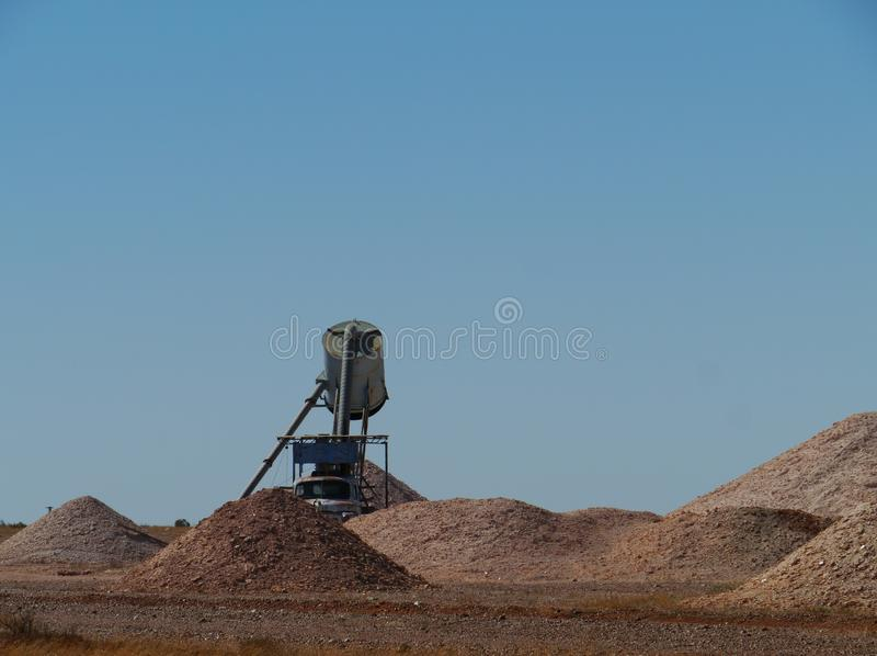 Opal mines in Coober Pedy. Equipment in the opal mines in Coober Pedy in the outback of Australia stock images