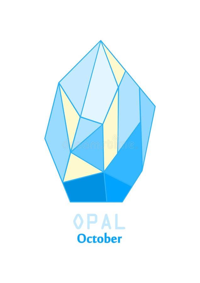 Opalen gemsteen, Opalen kristal, Gemmen en minerale kristalvector, Oktober-birthstonehalfedelsteen