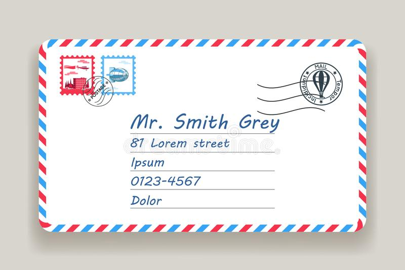 Opancerzanie pocztowego adresu poczta listu poczta znaczka wektoru ilustracja ilustracji