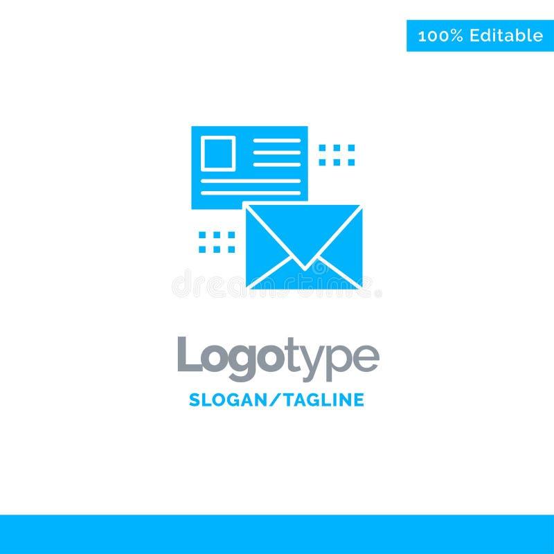 Opancerzanie, rozmowa, emaile, lista, poczta logo Błękitny Stały szablon Miejsce dla Tagline ilustracja wektor
