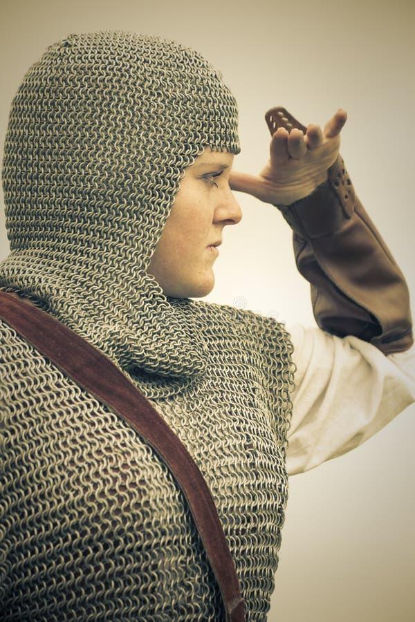 opancerzenia średniowiecznego retro rozłamu stonowana kobieta zdjęcie royalty free