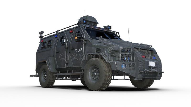 Opancerzona SUV ciężarówka, kuloodporny samochód policyjny, egzekwowanie prawa samochód odizolowywający na białym tle, dolny wido ilustracji