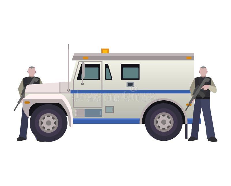Opancerzonego pieniądze przewoźnika pojazdu banka samochodu dostawczego wektorowego transportu bocznego widoku opancerzenia samoc ilustracja wektor
