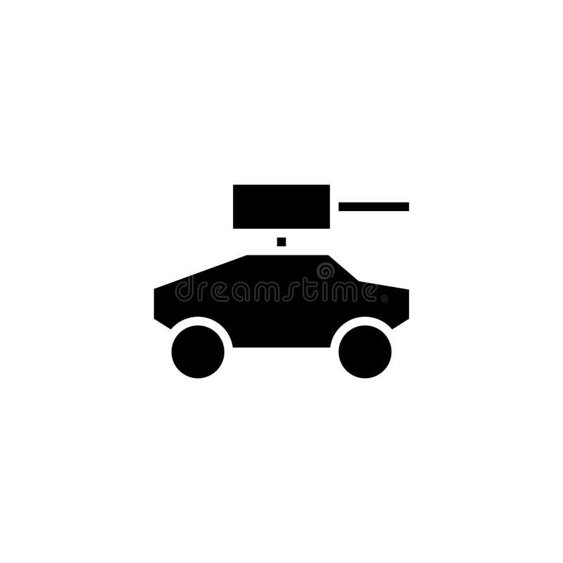 Opancerzonego samochodu ikony bryła pojazdu i transportu ikony zapas ilustracja wektor