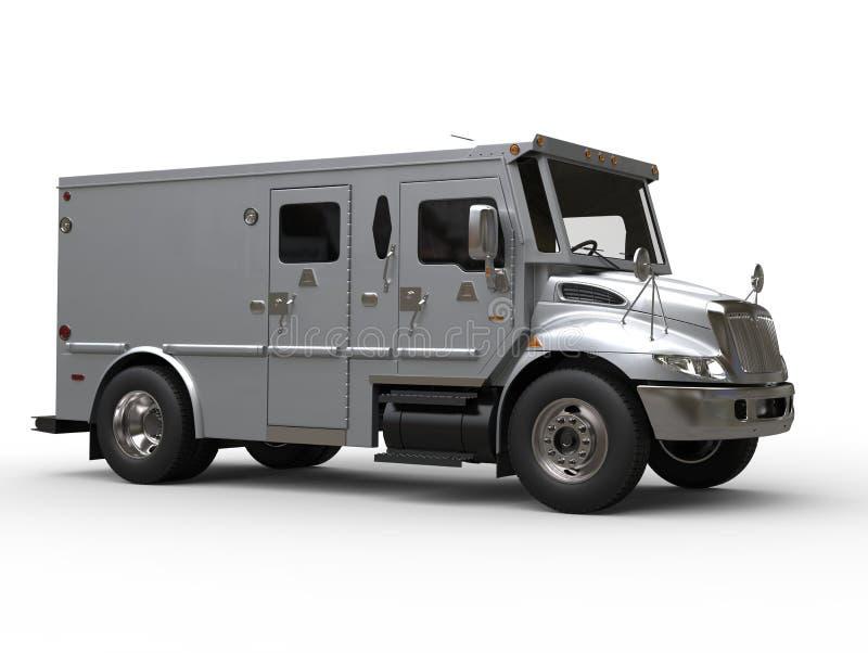 Opancerzony gotówka transportu samochód studio strzał - błękita srebro - ilustracja wektor
