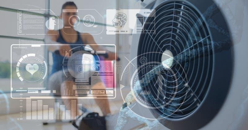 Opanowany wizerunek statystyczni dane na kobiecie przy gym tłem obraz stock