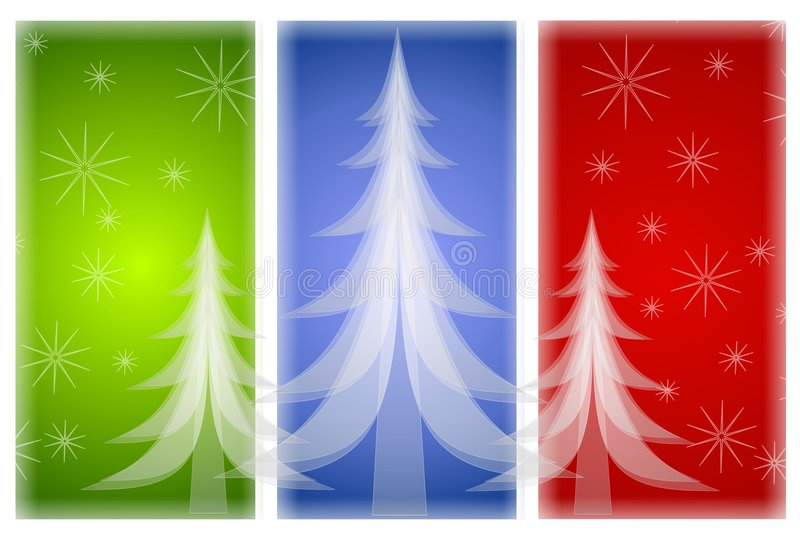 Opaque Christmas Trees on Red Green Blue. A background illustration featuring 3 opaque white Christmas trees set against 3 snowflake decorated panels in red
