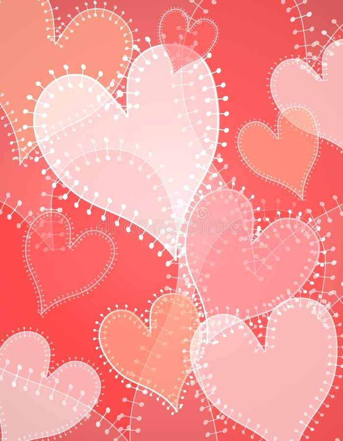 Opaque Quilt Patch Hearts Background. A background pattern featuring a variety of hearts in red and pinkish colors with a quilt edging effect and opacity royalty free illustration