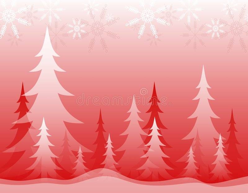 Opaque Winter Forest Red White vector illustration
