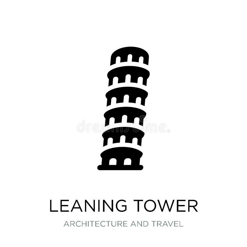 oparty wierza Pisa ikona w modnym projekta stylu Oparty wierza odizolowywający na białym tle Pisa ikona oprzeć wieżę w pizie ilustracja wektor