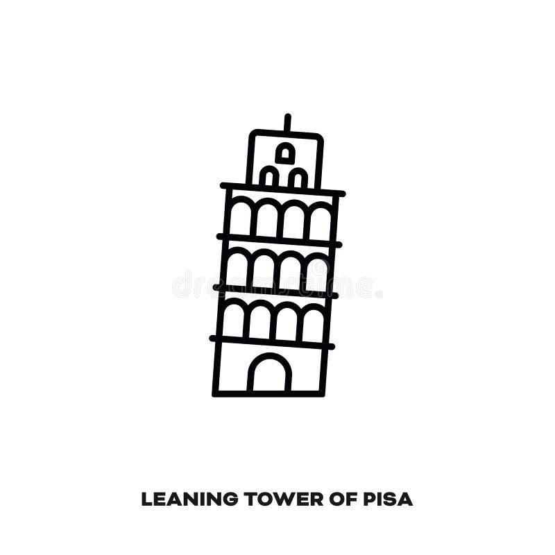 Oparty wierza Pisa, Włochy, wektor kreskowa ikona ilustracja wektor