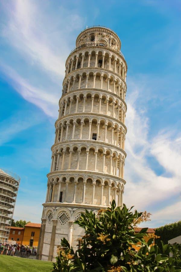 Oparty wierza Pisa w Pisas katedry kwadrata piazza Del D obraz stock