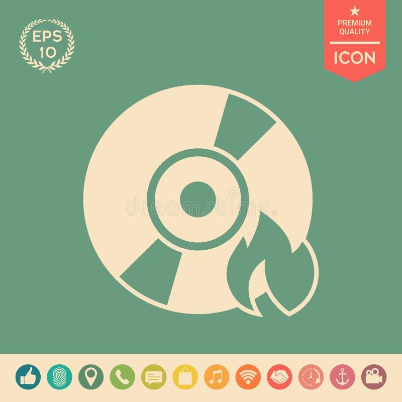 Oparzenie DVD lub cd ikona royalty ilustracja