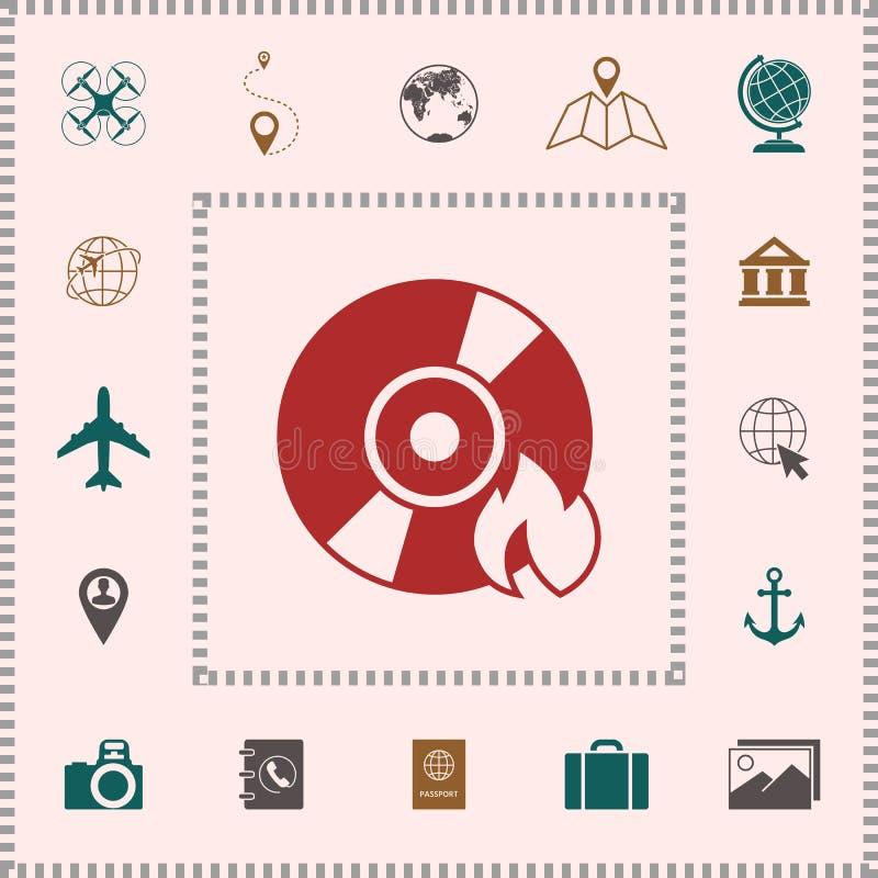 Oparzenie DVD lub cd ikona ilustracji