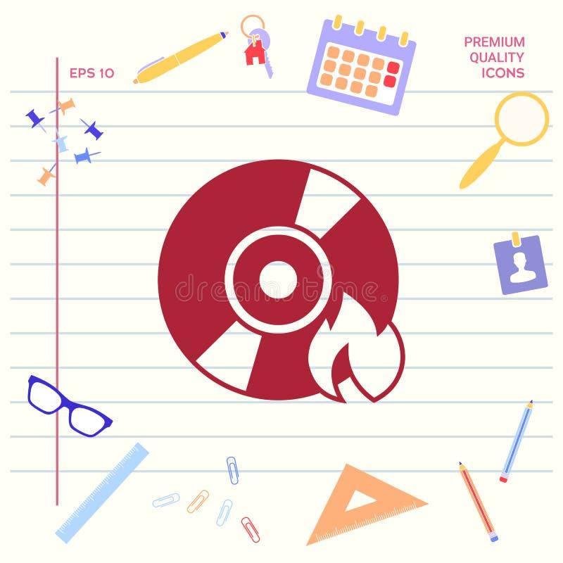Oparzenie DVD lub cd ikona ilustracja wektor