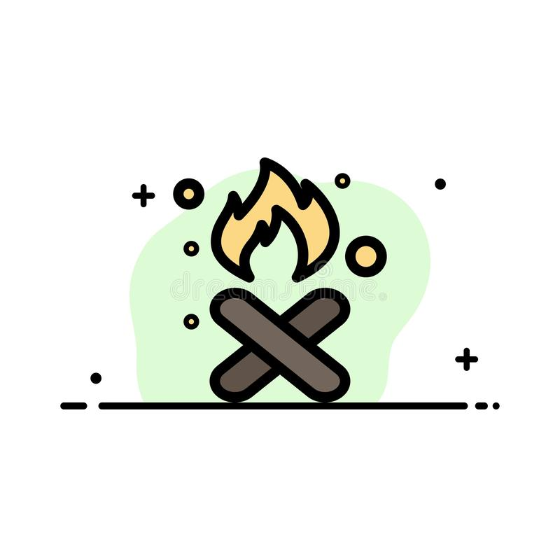 Oparzenie, ogień, śmieci, zanieczyszczenie, Dymna Biznesowa linia Wypełniający mieszkanie ikony sztandaru Wektorowy szablon ilustracja wektor