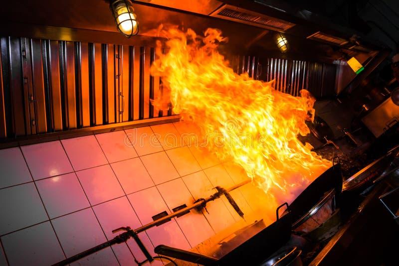 Oparzenie pożarniczy kucharstwo zdjęcia stock