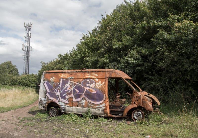 Oparzenie za samochodzie dostawczym w Birmingham obraz royalty free