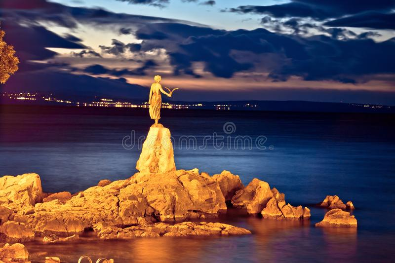 Opatija bay statue at sunset view royalty free stock photo