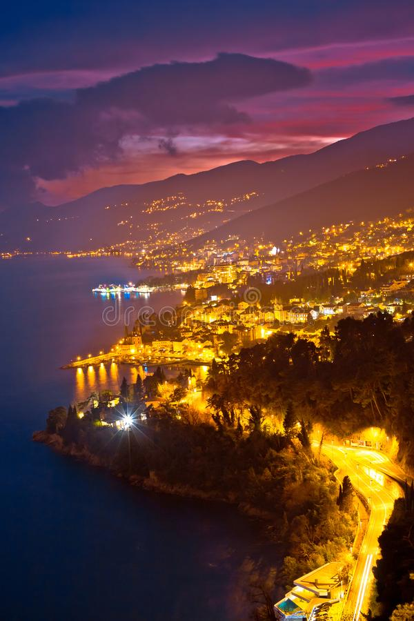 Download Opatija Riviera Bay Evening Panoramic View Stock Photo - Image of historic, mediterranean: 110971002