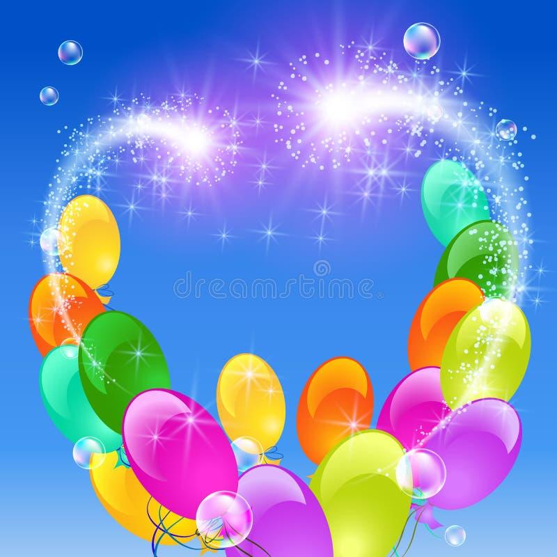 Opblaasbaar ballonsvuurwerk vector illustratie
