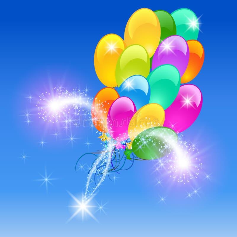 Opblaasbaar ballonsvuurwerk royalty-vrije illustratie
