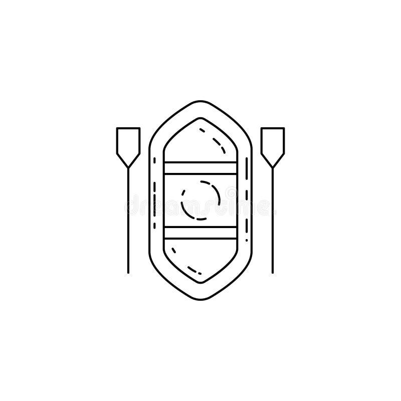 Opblaasbaar bootpictogram Element van kamperende en openluchtrecreatie voor mobiel concept en Web apps Dun lijnpictogram voor web vector illustratie