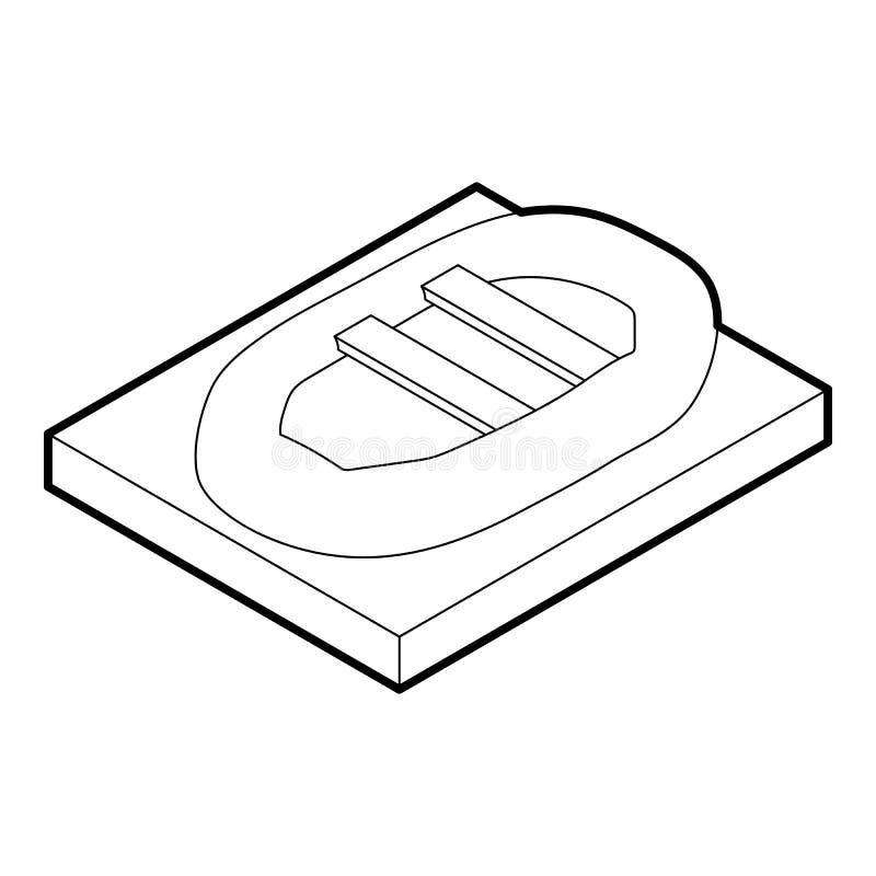 Opblaasbaar bootpictogram, overzichtsstijl vector illustratie