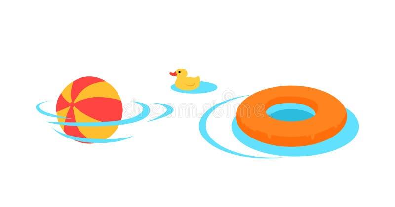 Opblaasbaar Speelgoed voor het Zwemmen in de Poolvector stock illustratie