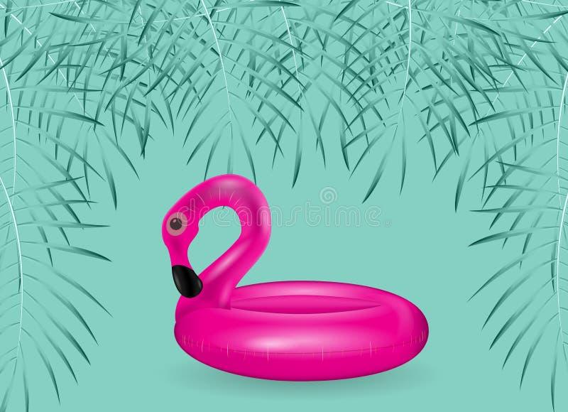 Opblaasbare cirkel voor het zwemmen en het ontspannen roze flamingo's opblaasbaar met palmbladen Vector illustratie stock illustratie