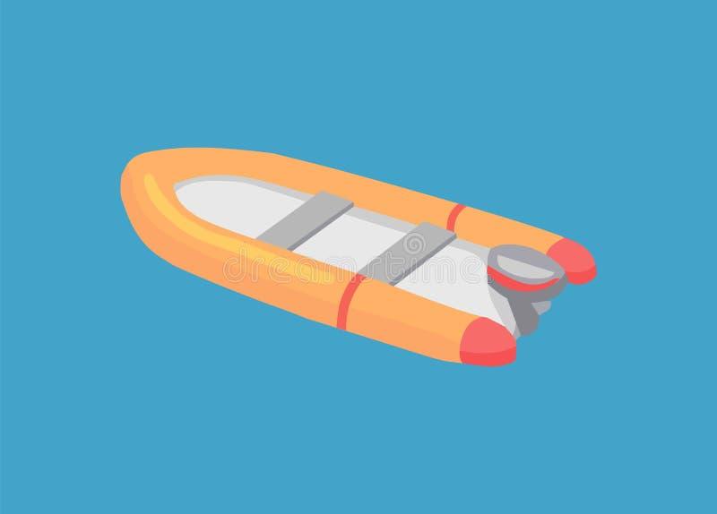 Opblaasbare Reddingsboot die in Diepe Blauwe Wateren varen stock illustratie