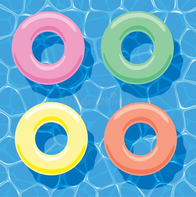 Opblaasbare ringen die op water drijven stock illustratie
