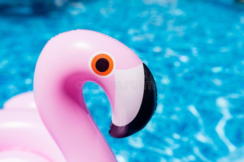 Opblaasbare roze flamingo bij het zwembad De zomertijd in het zwembad met plastic speelgoed Ontspanning, vakantie, vakantie royalty-vrije stock foto